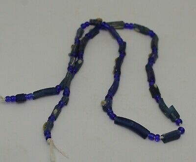 Ancient Roman Blue Glass Bead Necklace Circa 2Nd Century Ad  032