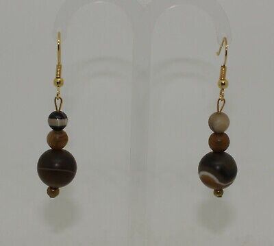 Ancient Carved Agate Bead Earrings