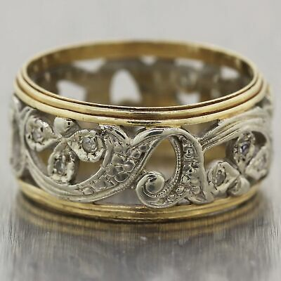 1930 Antique Art Deco 14k Yellow & White Gold Filigree Diamond Wedding Band Ring