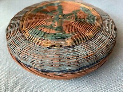 Vtg Small Painted Chinese Sewing Basket