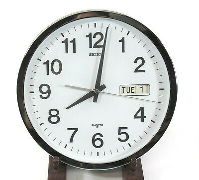 SEIKO Wall Clock Analog w/ Days & Date White Face & Chrome Large Numbers Works
