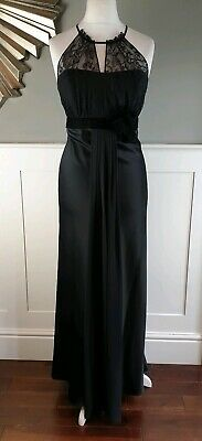 DEBUT Evening Gown 16 Black Lace Satin Long Maxi Special Occasion Halterneck