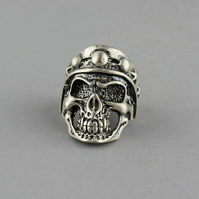 Collectable Handwork China Old Miao Silver Carve Skull Moral Exorcism Decor Ring