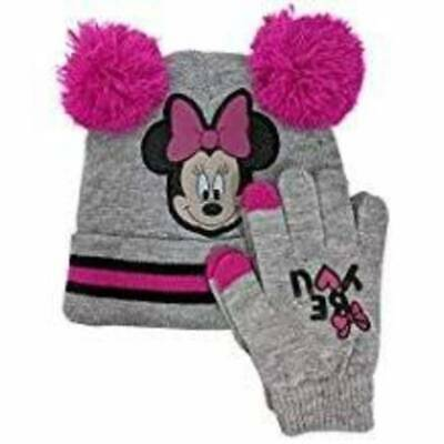 NEW Youth Girls Disney Minnie Mouse Gray & Pink Knit Winter Hat and Gloves Set