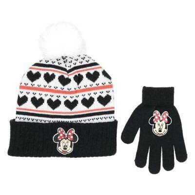 NEW Youth Girls Disney Minnie Mouse Black & White Knit Winter Hat and Gloves Set