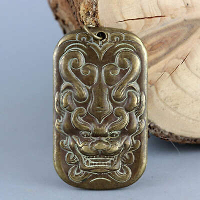 Collectable China Antique Bronze Hand Carve Myth Dragon Exorcism Amulet Pendant