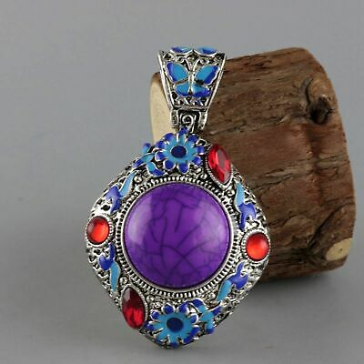 Collect Old Miao Silver & Cloisonne Carve Flower & Butterfly Delicate Pendant