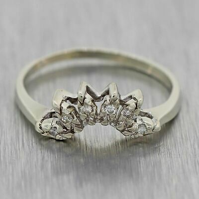 1930s Antique Art Deco 14k White Gold .05ctw Diamond Wedding Guard Ring