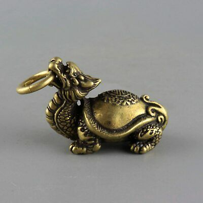 Collect China Old Bronze Hand-Carve Myth Dragon Turtle Statue Auspicious Pendant