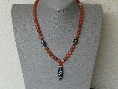 (aD036) Tibet:  Nice Necklace with Vintage agate eyes beads & DZI bead
