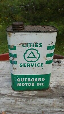 Vintage Cities Service Outboard Motor Oil 1 Qt. Empty Can