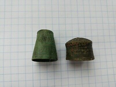 Ancient medieval bronze thimbles for sewing