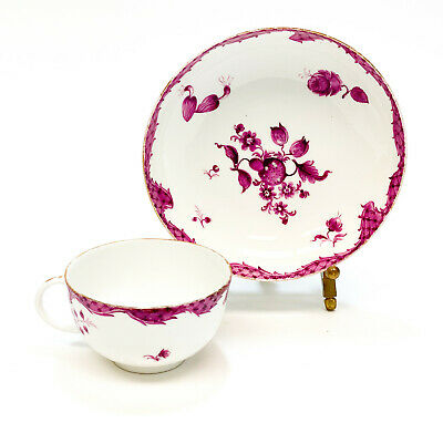 Meissen Germany Hand Painted Porcelain Cup & Saucer in Red Onion