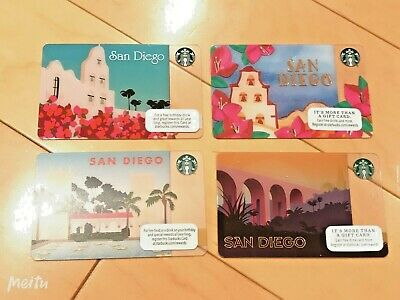 Limited Starbucks SAN DIEGO Regional Card Collection - Never Used (4 Total)