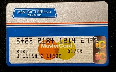 Manufactures Bank Wilmington  MasterCard Card Exp 1992 ♡Free Shipping♡cc236♡