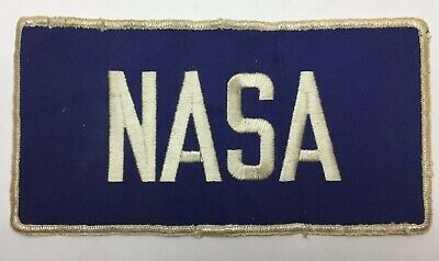 """Vintage Large NASA Employee Clothing Patch 6"""" X 10""""  White and Blue. VGC"""