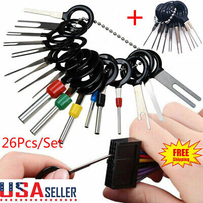 26Pcs Car Terminal Removal Tool Wire Plug Connector Extractor Puller Release Pin
