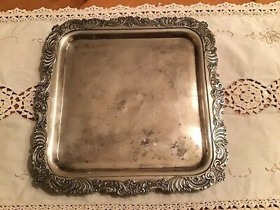 Antique Middletown Plate Co. Quadruple Plate Hard White Metal Square Tray