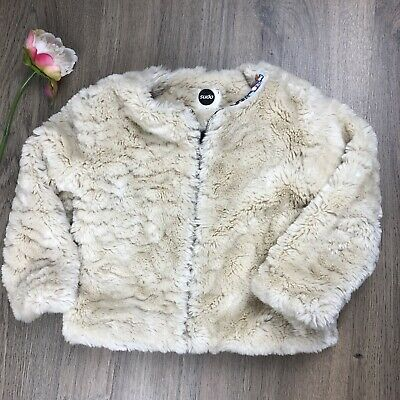 Sudo Girls Jacket Size 3 Faux Fur With Floral Lining EUC