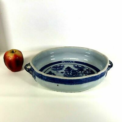 Rare Large Antique 19th C Chinese Porcelain Canton Serving Dish Bowl