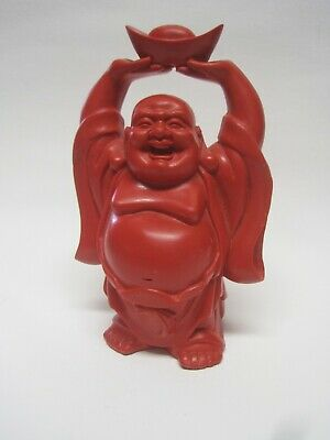 Vintage Chinese Red Lacquer ware Cinnabar Buddha Figure