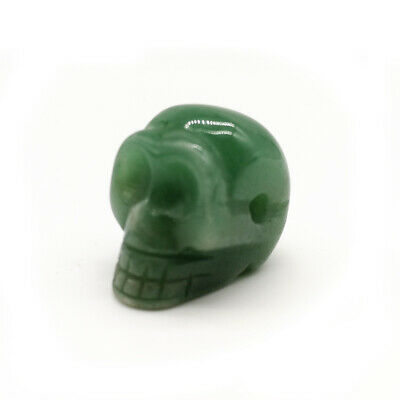Green Nature Carved Skull Quartz Crystal Stone Skull Healing Figurines Gift 1.5""