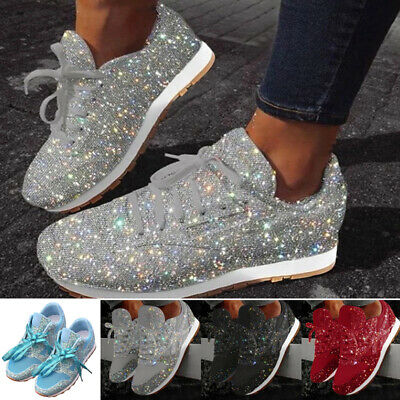 Pair Women Ladies Sequin Glitter Lace-Up Running Shoes Athletic Low-Top Sneakers