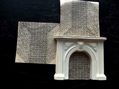 """Vintage French Dollhouse Miniature White Ceramic Classical Style Fireplace 5.5""""H"""