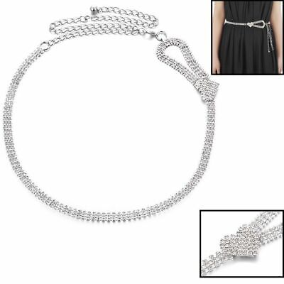 3 Row Diamante Diamond Ladies Waist Chain Crystal Rhinestone Charm Long Belt