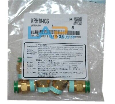 SMC KRH10-03S Flame Resistant Air Fitting, Male Connector, 10mm, 3/8, Pack of 5