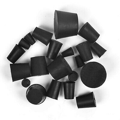 21 Pack Solid Rubber Stopper, Black Lab Plug, 000# - 8# Sizes Assortment, 11 ...