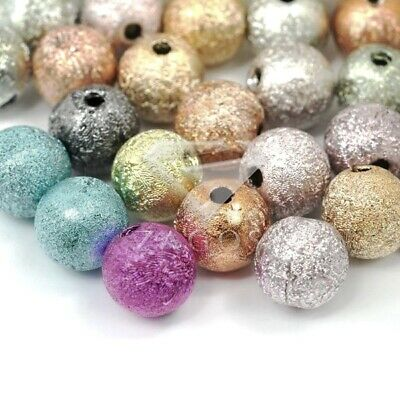 130pcs Acrylic Round Stardust Spacer Beads Mixed Jewellery Making 6mm SFAR0361