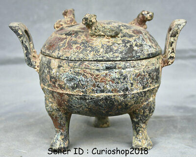 """8.2"""" Old Chinese Bronze Ware Dynasty Ancient Text Beast Incense Burner Censer"""
