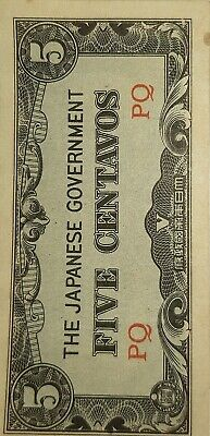 WW2 Japanese Invasion Money five centavos
