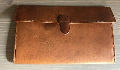 Vintage Real Leather Two Tix Tan Wallet Made In England 1950s Great Condition