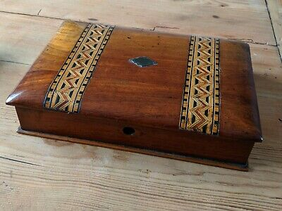 Antique Solid Wood Inlaid Writing Box Wax Brass Stamp Inkwell Silver Jubilee