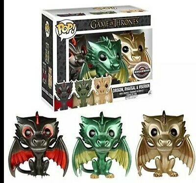 Funko Pop HBO Game Of Thrones Dragon 3 Pack Drogon Viserion Metallic Exclusive