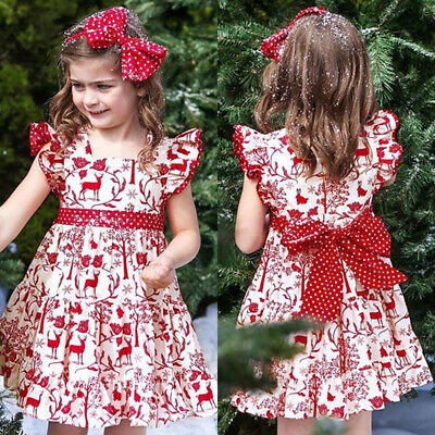 AU Christmas Kid Baby Girl Clothes Deer Sleeveless Princess Party Dress 2PCS Set
