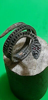 Ancient Unique  Roman Silver ring Snake Senatorial Fine artifact