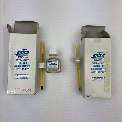 "ERTCO Ultra-Low Freezer Thermometer 7-1/2"" -90 to 20°C Total Immersion ULF-010SR"
