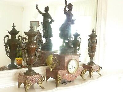 Antique Victorian 3 Piece Clock Garniture With Spelter Figure