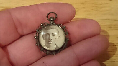 Antique Victorian Mourning Photo Pendant Silver or Silver Plated