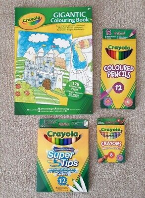 Crayola Stationery Bundle Set Pencils Super Tips Crayons Colouring Book New