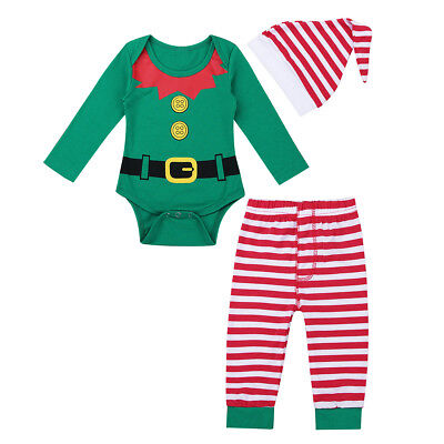 Unisex Infant Baby Boys Girls Christmas Outfit Long Sleeves Romper Pants Hat