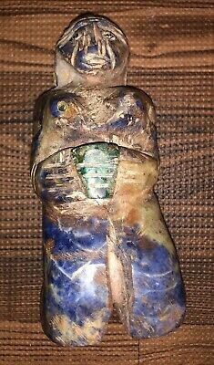Attributed Pre Columbian Chavin Carved Lapis Malachite Shell Fertility Fetish