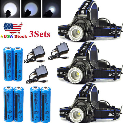 900000LM Rechargeable Head light LED Headlamp Tactical Torch Lamp Flashlight Lot