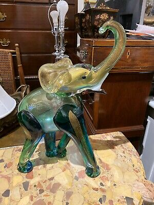 HUGE Antique Gold & Green Italian Murano Glass Elephant Animal Figurine
