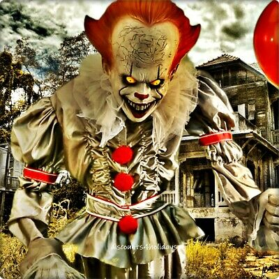 6- FT. ANIMATED PENNYWISE The CLOWN w BALLOON🎈 IT MOVIE HALLOWEEN PROP  🤡
