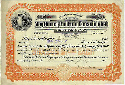 NEVADA 1907 Mayflower Bullfrog Consolidated Mining Company Stock Certificate Nye