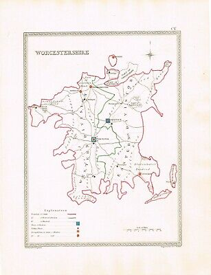 Worcestershire Droitwich Kidderminster Evesham Upton Old Antique Map Print c1835